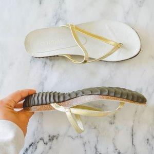Cordani Muri Thong Gold Leather Sandals Open Toe